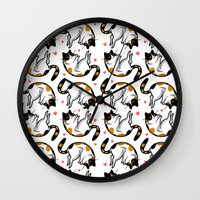 sriracha Wall Clocks featuring Sriracha the cat by Bach