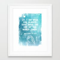 bible verses Framed Art Prints featuring Typographic Motivational Bible Verses - Matthew 28:20 by The Wooden Tree