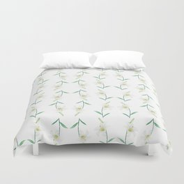 white lily watercolor Duvet Cover