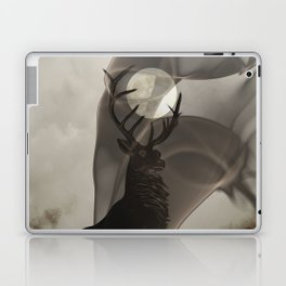 Stag Deer under Full Moon Matted Picture A363 Laptop & iPad Skin