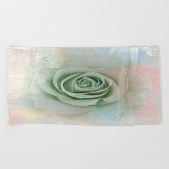 Elegant Painterly Mint Green Rose Abstract Beach Towel