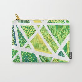 Geometric doodle pattern - green and yellow Carry-All Pouch
