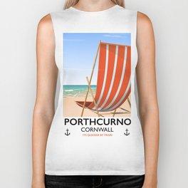 Porthcurno Cornwall vintage vacation poster. Biker Tank