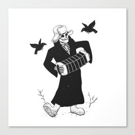 Grim reaper with accordion  - skull musician - black and white Canvas Print