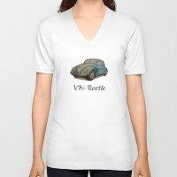 volkswagen V-neck T-shirts featuring Volkswagen Beetle by CARZINART