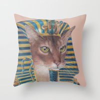 egyptian Throw Pillows featuring Egyptian Cat by Rachel Waterman