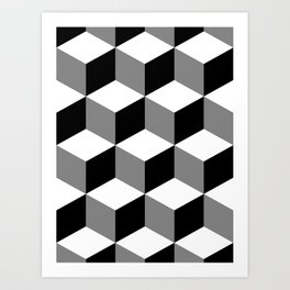 Cube Pattern Black White Grey Art Print