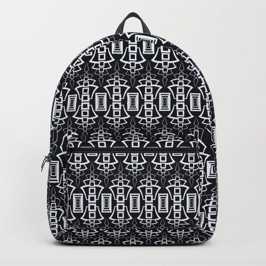"Art Deco . ""Grey and gray . "" Backpack"