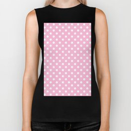Small Polka Dots - White on Cotton Candy Pink Biker Tank