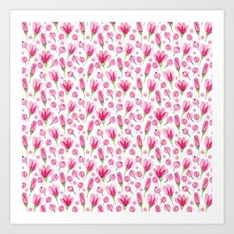 Pink flowers Nature Art Print