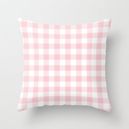 Large Valentine Soft Blush Pink and White Buffalo Check Plaid Throw Pillow