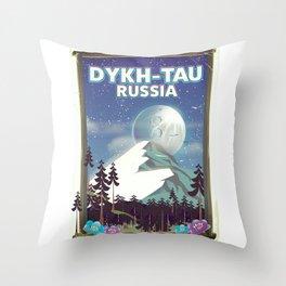 Dykh-Tau, Russia mountain poster. Throw Pillow
