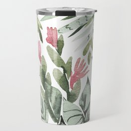 Forest green pink tropical summer watercolor floral Travel Mug