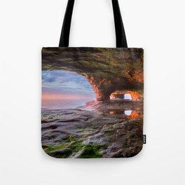 Sea Cave Sunset on Lake Superior Tote Bag