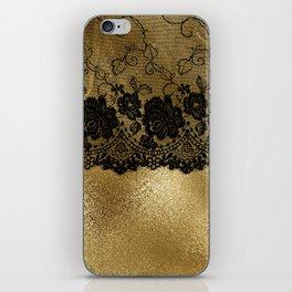 Black luxury lace on gold glitter effect metal- Elegant design iPhone Skin