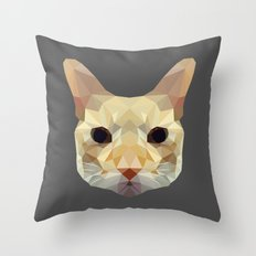 geometric cat head Throw Pillow