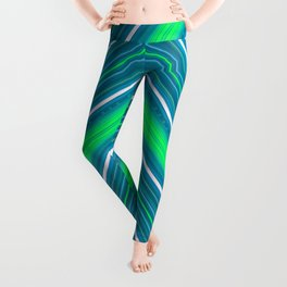 Modern Diagonal Chevron Stripes in Shades of Blue and Green Leggings