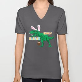 BunnySaurus T Rex Dino Bunny Ears with Easter Basket Gift Unisex V-Neck