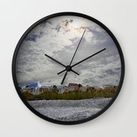 rileigh smirl Wall Clocks featuring At the Beach by Rileigh Smirl
