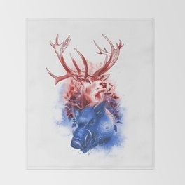 Red Stag and Blue Boar Throw Blanket