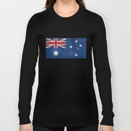 "Australian flag, retro ""folded"" textured version (authentic scale 1:2) Long Sleeve T-shirt"