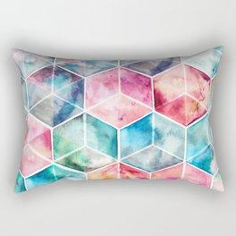 Translucent Watercolor Hexagon Cubes Rectangular Pillow