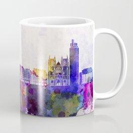 Nantes skyline in watercolor background Coffee Mug