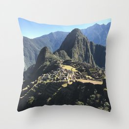 Macchu Picchu on a clear day Throw Pillow