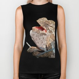 A Chameleon With Open Mouth Isolated Biker Tank