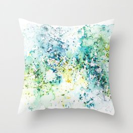 Green Watercolour Rain Throw Pillow