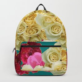 DECORATIVE TEAL & FUCHSIA PINK WHITE RED ROSES Backpack