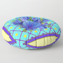 Yellow Turquois Purple Blue Floral Pattern Floor Pillow