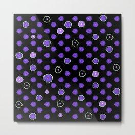 Purple flowers on black Metal Print