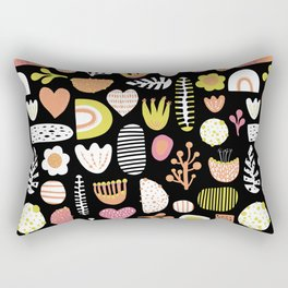 Retro abstract shapes hearts and leaves pattern Rectangular Pillow