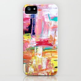 Contemporary Palette Knife Abstract Plaid 4 iPhone Case