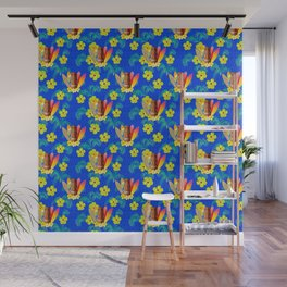 Surfboards And Tiki Mask Pattern Wall Mural