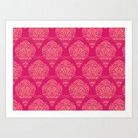 damask Art Prints featuring Damask by cactus studio