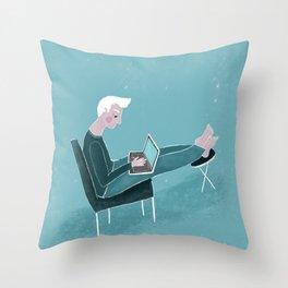 Technology blues Throw Pillow