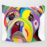 bulldog Wall Tapestries featuring Bulldog by EloiseArt