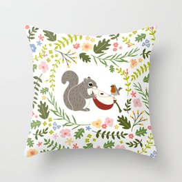 Friendship in Wildlife_Squirrel and Robin_Bg White Throw Pillow
