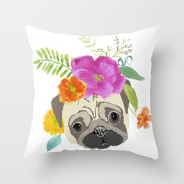 Pug with Flowers Throw Pillow