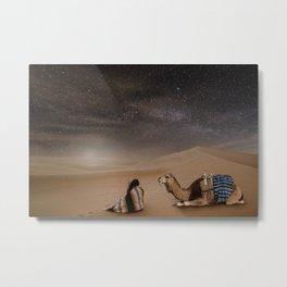 Desert Rest (Woman & Camel Landscape) Metal Print
