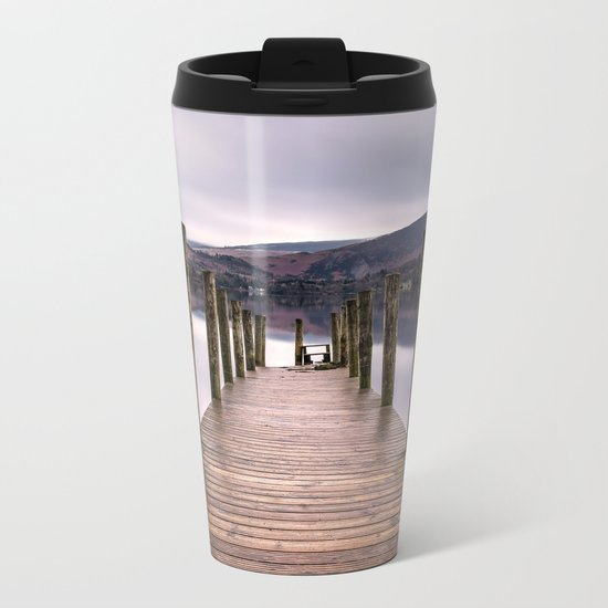 Lake View with Wooden Pier Metal Travel Mug