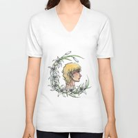 enjolras V-neck T-shirts featuring Enjolras and lilies by MonsterFromTheLAke