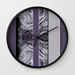 Marbled Smoky Plum Stripes Wall Clock
