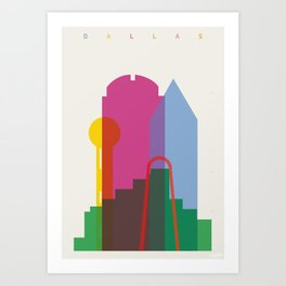 Shapes of Dallas. Accurate to scale. Art Print