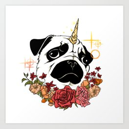 Sparkly Flowers Puggicorn Art Print