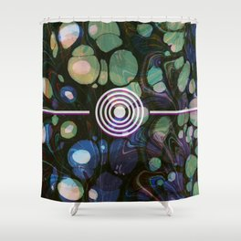 Abstract Painting - Marbling Art 02- Fluid Painting - Blue Green, Black Abstract - Modern Abstract Shower Curtain