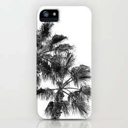 B&W Palm Tree Print | Black and White Summer Sky Beach Surfing Photography Art iPhone Case