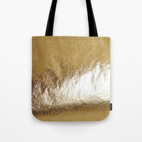 gold foil Tote Bags featuring Gold Foil by The Wellington Boot